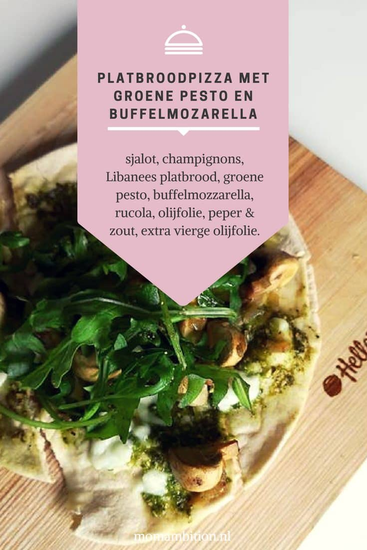 Recept | Platbroodpizza met groene pesto